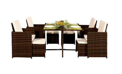 Comfy Living 9PC Rattan Outdoor Garden Patio Furniture Set In Golden Brown - 4 Chairs 4 Stools & Dining Table
