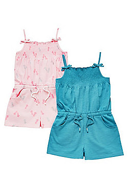 F&F 2 Pack of Pineapple Print and Plain Jersey Playsuits - Pink & Turquoise