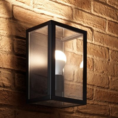 Auraglow Outdoor IP44 Black Glass Box Wall Lamp with LED Light Bulb (Warm White)