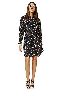 Mela London Butterfly Print Shirt Dress - Black