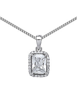 Rhodium Plated Sterling Silver Emerald Cut Cubic Zirconia Halo Pendant Necklace 18 inch