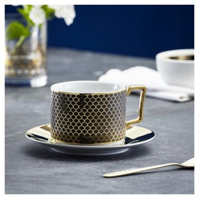 Fox Ivy Soho Black Coffee Cup Saucer