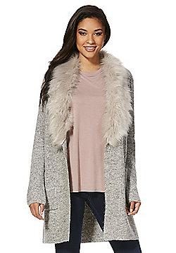 F&F Faux Fur Shawl Collar Long Line Cardigan - Light grey