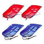 Set Of Four Delta Sled / Sledges (Two Red, Two Blue)