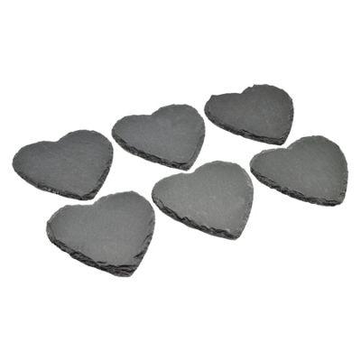 Argon Tableware Heart Shape Natural Slate Drinks Coasters - Set Of 6