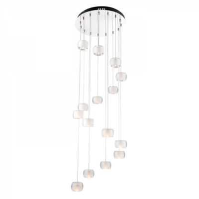 Chrome Effect Pendant Light with Rounded K9 Crystal Glass Shades - 15 Light 10W