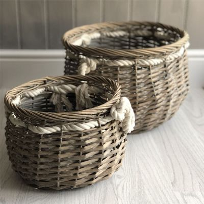 Set of Two Wicker Storage Baskets