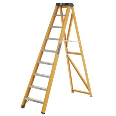 Heavy Duty 9 Tread GRP Fibreglass Swingback Step Ladder (Alloy Tread)