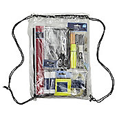 T. Stationery essentials in drawstring bag
