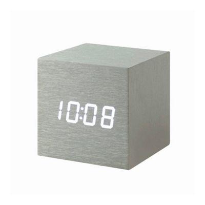 Gingko Cube Aluminium Clock White LED