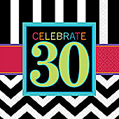 30th Birthday Napkins - 2ply Paper - 16 Pack