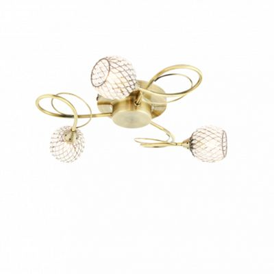 Antique Brass Effect Semi Flush Ceiling Light With Clear Bead Shades 33W 3 light