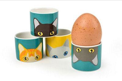 Burgon and Ball Creaturewares Doris Cat Egg Cups, Set of 4