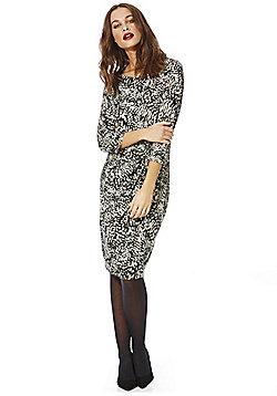 Vero Moda Blurred Print Ruched Front Dress - Black