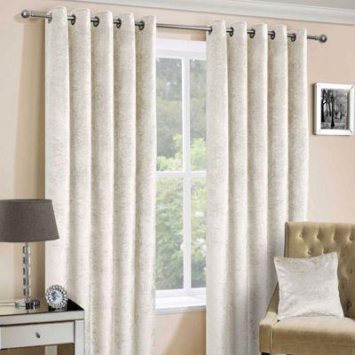 Cream Luxury Crushed Velvet Lined Eyelet Curtain Pair, 90 x 72