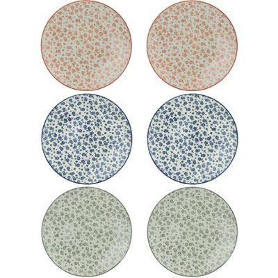 Flower Design Patterned Side / Dessert Plates x3 Designs 190mm x6