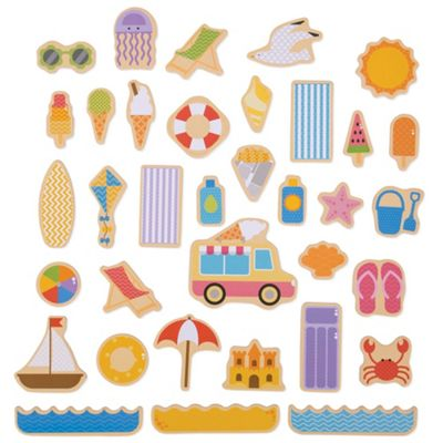 Bigjigs Toys Wooden Seaside Magnets - 35 Pieces