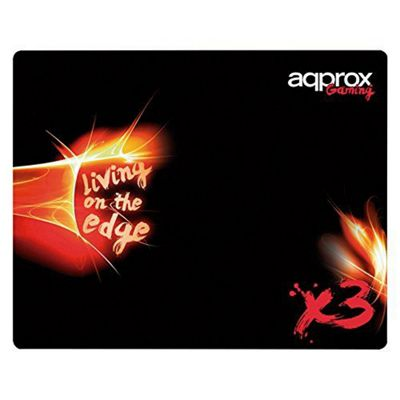 Approx Appx3 'living On The Edge' Textile Gaming Mousepad, 400 X 320 X 3 Mm, Black