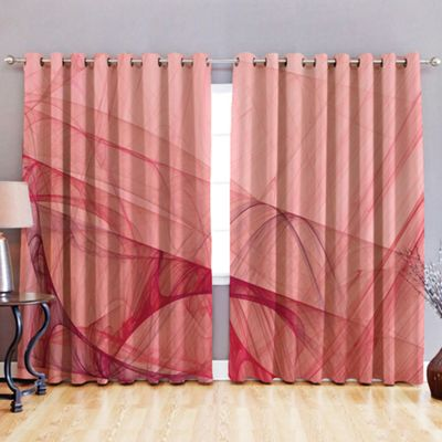 Flow 3D Print Blackout Fabric Eyelet Curtains 52