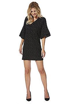 F&F Spot Print Flute Sleeve V-Neck Dress - Black