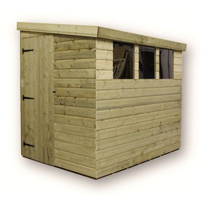 7 x 4 Maldon Reverse Pressure Treated T&G Pent Shed + 3 Windows + Side Door (7ft x 4ft)