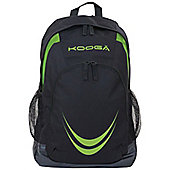 Kooga Rugby Essentials Backpack Side Mesh Water Bottle Pockets Black/Lime