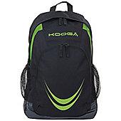 Kooga Rugby Essentials Backpack Side Mesh Water Bottle Pockets Black/Lime