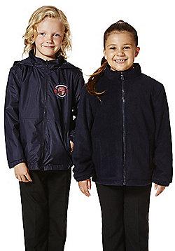 Unisex Embroidered Reversible School Fleece Jacket - Navy