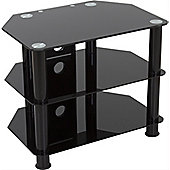 AVF Universal Black Glass and Black Legs TV Stand For up to 32 inch TVs