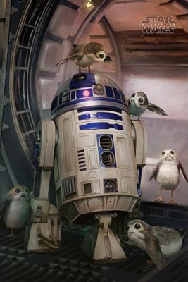 Star Wars The Last Jedi R2-D2 & Porgs Poster 61x91.5cm