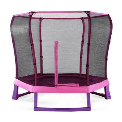 Plum 7ft Junior Jumper Trampoline and Enclosure - Pink & Purple