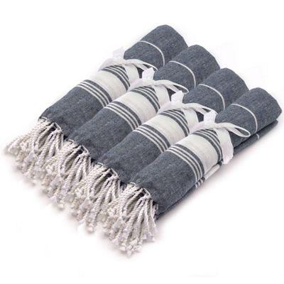 Turkish Beach / Bath / Yoga / Hammam, Peshtemal Towel 100% Cotton - Dark Blue x4