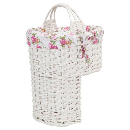 Tesco White Wicker Lined Stair Basket