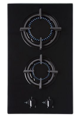 SIA GHG301BL 30cm Gas on Glass Domino Hob In Black |CAST IRON SUPPORTS + LPG KIT
