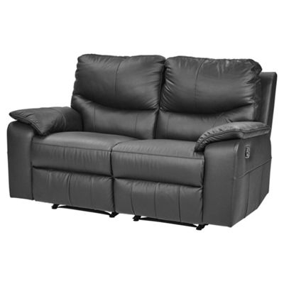 Chilton Medium 2.5 Seater Leather Recliner Sofa, Black