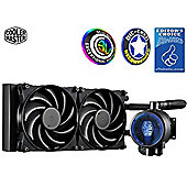 "Cooler Master MasterLiquid Pro 240 AIO Liquid CPU Cooler ""MLY–D24M–A20MB–R1, 240mm Radiator, 2x MasterFan Pro 120 AB PWM Fan, FlowOp"