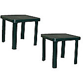 Resol Sun Lounger Side Table In Green / Garden Table Polypropylene Plastic x2