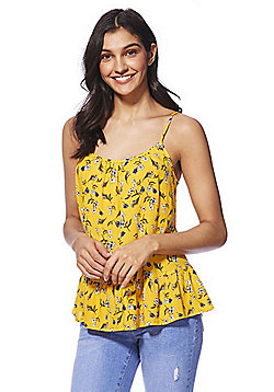 F&F Ditsy Floral Tie-Back Cami Top - Yellow/Multi