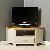 Mullion Painted Corner TV Stand - Stone Grey