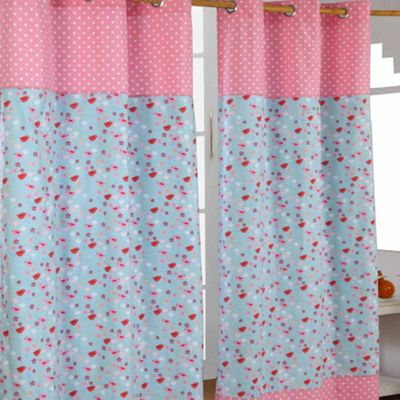 Homescapes Birds And Flowers Ready Made Eyelet Curtain Pair, 137 x 228 cm Drop