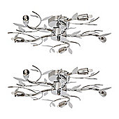 Pair of Blossom Five Way Flush Ceiling Lights, Chrome