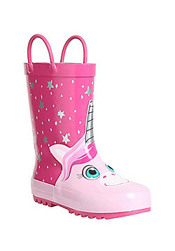 F&F Unicorn Face Faux Fur Lined Wellies - Pink