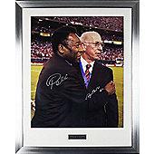 Hand Signed Pele & Sir Bobby Charlton Framed Photo - Man Utd - Football Legend