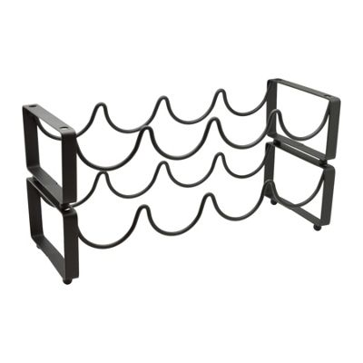 Harbour Housewares 8 Bottle Stackable, Freestanding Black Metal Wine Rack