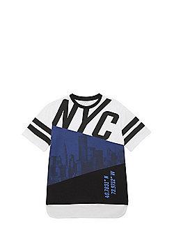 F&F Spliced NYC Mesh Hem T-Shirt - Multi