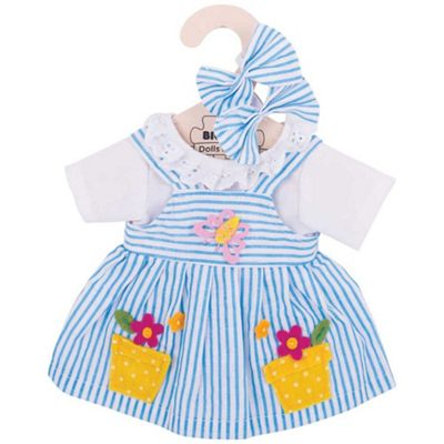 Bigjigs Toys Blue Striped Rag Doll Dress for 34cm Soft Doll with Additional Matching Hair Accessories