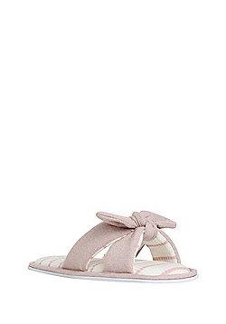 F&F Glitter Bow Slider Slippers - Pink