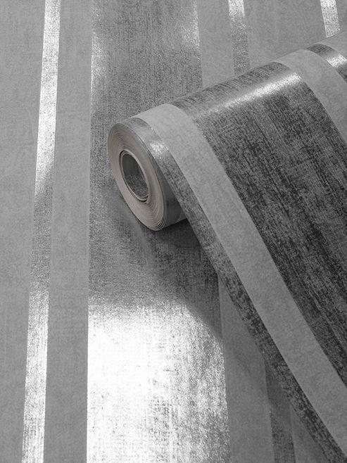 Mara Stripe Wallpaper Silver Muriva 701541