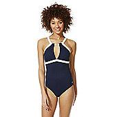 F&F Luxury Nautical High Neck Swimsuit - Navy & White