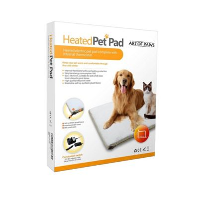 Art of Paws Electric Heated Pet Pad Bed with Soft Plush Fleece Cover - 58x43cm